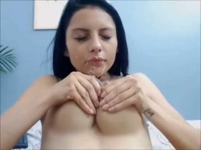 Beautiful Lactating Model Tasting Her Delicious Breast Milk