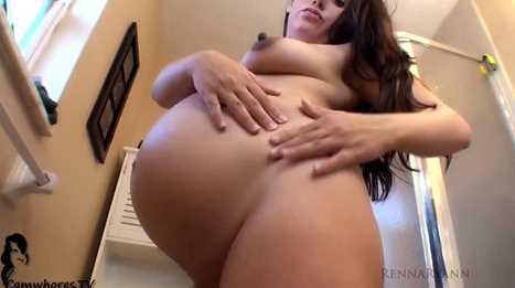 Big Belly Preggo MILF Rubbing Lotion Sensually