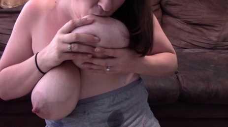 MILF Breastfeeding On Her Full Engorged Lactating Tits
