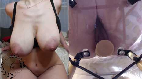 Lactating Teen MILF With Engorged Tits Dildo Fuck