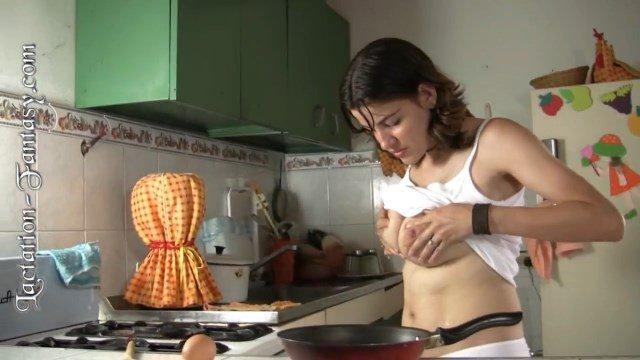 Hot Latina Using Her Breast Milk To Cook