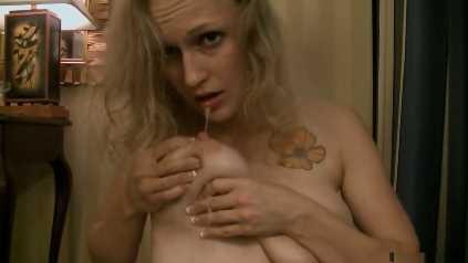 Blonde MILF Sucking On Her Lactating Boobs