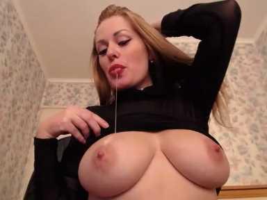 European Blonde MILF With Big Tits Self Breastfeeding