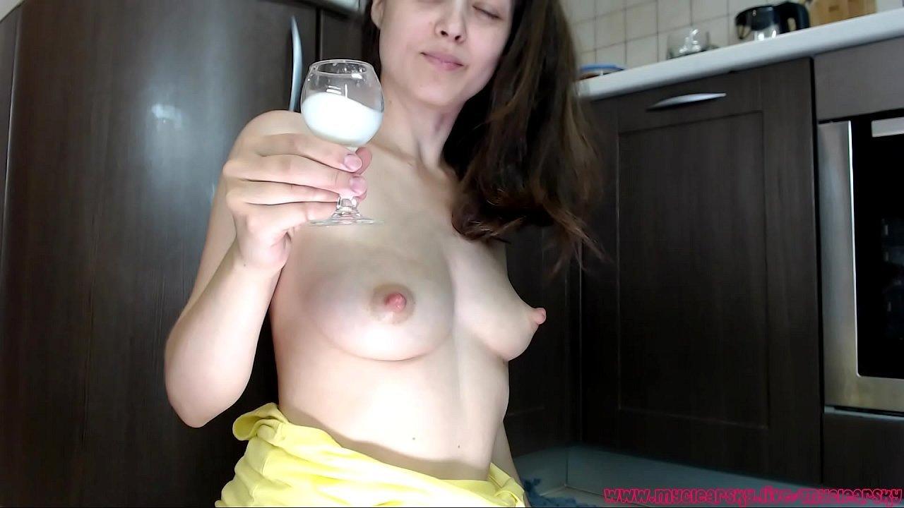 Skinny MILF With Lactating Breasts Milks Herself