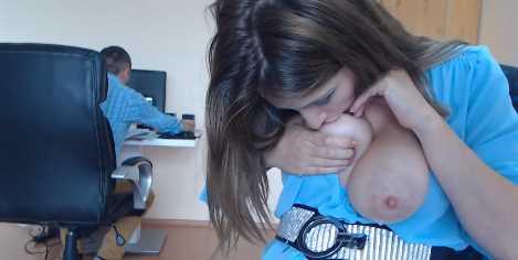 Pretty Lactating Teen Breastfeeding Discreetly At Work
