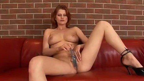 Big Tits Redhead Lactating Babe Dildo Solo