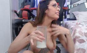 Drinking Breastmilk Latina MILF Lactation Porn